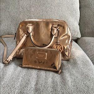 MK copper colored purse & wallet